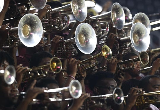 Sep 5, 2015; Cincinnati, OH, USA; The Alabama A&M Bulldogs band performs in the second half against the Cincinnati Bearcats at Nippert Stadium. The Bearcats won 52-10. Mandatory Credit: Aaron Doster-USA TODAY Sports