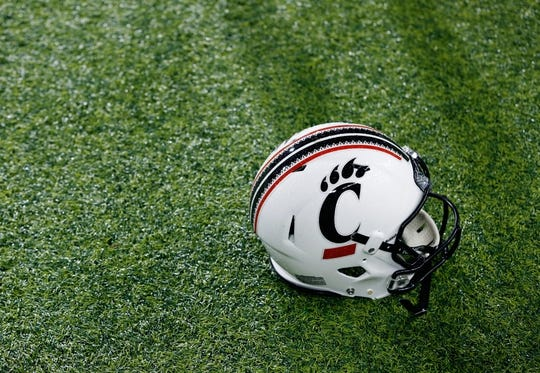 Sep 5, 2015; Cincinnati, OH, USA; A general view of an official Under Armour Cincinnati Bearcats helmet prior to the game of the Cincinnati Bearcats against the Alabama A&M Bulldogs at Nippert Stadium. The Bearcats won 52-10. Mandatory Credit: Aaron Doster-USA TODAY Sports