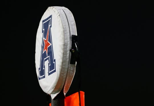 Sep 5, 2015; Cincinnati, OH, USA; A detailed view of the American Athletic Conference logo on a field marker at Nippert Stadium. The Bearcats won 52-10. Mandatory Credit: Aaron Doster-USA TODAY Sports
