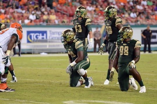 Sep 5, 2015; Tampa, FL, USA; The South Florida Bulls  defensive line in the second half against the Florida A & M Rattlers at Raymond James Stadium. Mandatory Credit: Jonathan Dyer-USA TODAY Sports