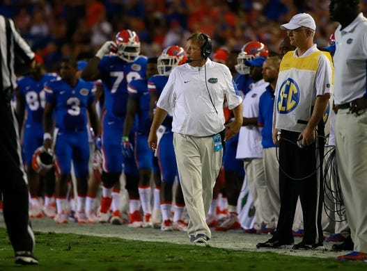 Sep 5, 2015; Gainesville, FL, USA; Florida Gators head coach Jim McElwain against the New Mexico State Aggies during the second quarter at Ben Hill Griffin Stadium. Mandatory Credit: Kim Klement-USA TODAY Sports