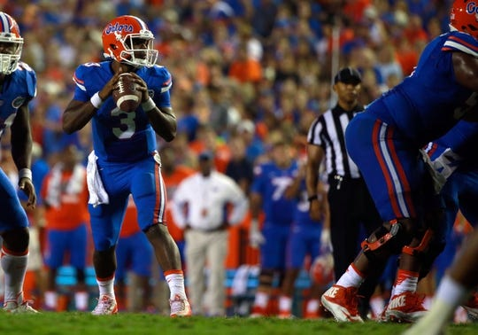 Sep 5, 2015; Gainesville, FL, USA; Florida Gators quarterback Treon Harris (3) drops back against the New Mexico State Aggies during the second half at Ben Hill Griffin Stadium. Mandatory Credit: Kim Klement-USA TODAY Sports