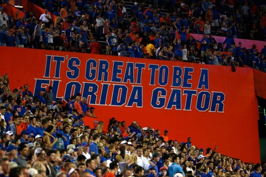 """Sep 5, 2015; Gainesville, FL, USA; A general view of a """"Its Great to be a Florida Gator""""  sign in the Swamp where the  Florida Gators play the New Mexico State Aggies during the second half at Ben Hill Griffin Stadium. Mandatory Credit: Kim Klement-USA TODAY Sports"""