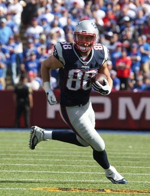 Sep 20, 2015; Orchard Park, NY, USA; New England Patriots wide receiver Danny Amendola (80) runs the ball after a catch during the second half against the Buffalo Bills at Ralph Wilson Stadium. Patriots defeat the Bills 40 to 32.  Mandatory Credit: Timothy T. Ludwig-USA TODAY Sports