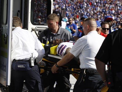 Sep 20, 2015; Orchard Park, NY, USA; Buffalo Bills strong safety Aaron Williams (23) gets taken off the field on a stretcher after getting hurt during the second half against the New England Patriots at Ralph Wilson Stadium. Patriots defeat the Bills 40 to 32.  Mandatory Credit: Timothy T. Ludwig-USA TODAY Sports