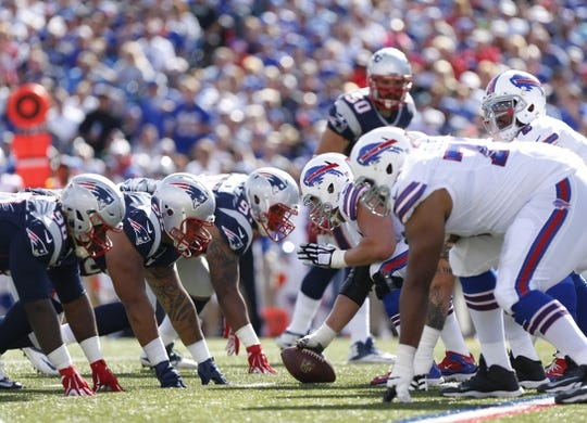 Sep 20, 2015; Orchard Park, NY, USA; The New England Patriots defense lines up against the Buffalo Bills offense during the second half at Ralph Wilson Stadium. Patriots beat the Bills 40-32. Mandatory Credit: Kevin Hoffman-USA TODAY Sports