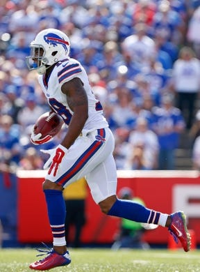 Sep 20, 2015; Orchard Park, NY, USA; Buffalo Bills wide receiver Percy Harvin (18) during the second half against the New England Patriots at Ralph Wilson Stadium. Patriots beat the Bills 40-32. Mandatory Credit: Kevin Hoffman-USA TODAY Sports