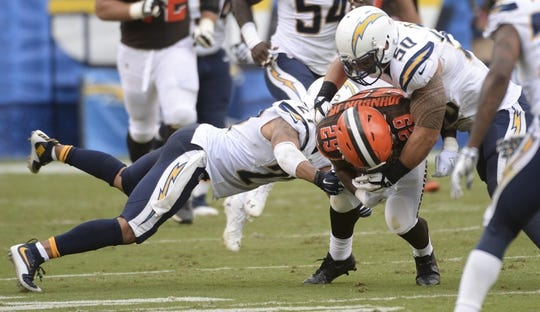 Oct 4, 2015; San Diego, CA, USA; San Diego Chargers strong safety Jimmy Wilson (27) and inside linebacker Manti Te'o (50) stop Cleveland Browns running back Duke Johnson (29) after a short gain during the first half at Qualcomm Stadium. Mandatory Credit: Robert Hanashiro-USA TODAY Sports