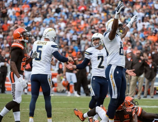 Oct 4, 2015; San Diego, CA, USA; San Diego Chargers kicker Josh Lambo (2) is all smiles after hitting a 34-yard field goal with no time on the clock for a 30-27 win over the Cleveland Browns at Qualcomm Stadium. Mandatory Credit: Robert Hanashiro-USA TODAY Sports