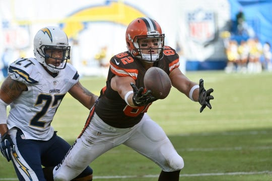 Oct 4, 2015; San Diego, CA, USA; Cleveland Browns tight end Gary Barnidge (82) juggles a pass while diving into the end zone as San Diego Chargers strong safety Jimmy Wilson (27) tries to break up the play in the fourth quarter at Qualcomm Stadium. After a video replay Barnidge was ruled to have made the catch and scored a touchdown to make the score 27-27. Mandatory Credit: Robert Hanashiro-USA TODAY Sports