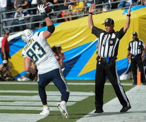 Oct 4, 2015; San Diego, CA, USA; San Diego Chargers tight end John Phillips (83) spikes the ball after scoring a touchdown on a one-yard pass from San Diego Chargers quarterback Philip Rivers (not pictured) against the Cleveland Browns at Qualcomm Stadium. Mandatory Credit: Robert Hanashiro-USA TODAY Sports