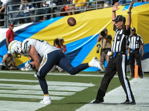 Oct 4, 2015; San Diego, CA, USA; San Diego Chargers tight end John Phillips (83) spikes the ball after scoring a touchdown on a one-yard pass from San Diego Chargers quarterback Philip Rivers (not pictured)against the Cleveland Browns at Qualcomm Stadium. Mandatory Credit: Robert Hanashiro-USA TODAY Sports