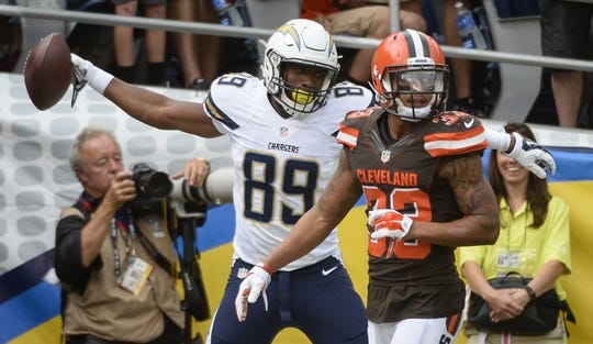 Oct 4, 2015; San Diego, CA, USA;  San Diego Chargers tight end Ladarius Green (89) celebrates scoring a third quarter touchdown over Cleveland Browns running back Robert Turbin (32) at Qualcomm Stadium. San Diego went on to a 30-27 win. Mandatory Credit: Robert Hanashiro-USA TODAY Sports