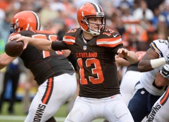 Oct 4, 2015; San Diego, CA, USA; Cleveland Browns quarterback Josh McCown (13) throws a pass during the third quarter against the San Diego Chargers at Qualcomm Stadium. Mandatory Credit: Robert Hanashiro-USA TODAY Sports