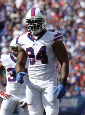 Sep 20, 2015; Orchard Park, NY, USA; Buffalo Bills defensive end Mario Williams (94) against the New England Patriots at Ralph Wilson Stadium. Patriots defeat the Bills 40 to 32.  Mandatory Credit: Timothy T. Ludwig-USA TODAY Sports