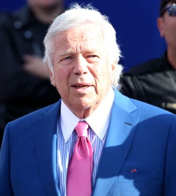 Sep 20, 2015; Orchard Park, NY, USA; New England Patriots owner Robert Kraft on the field after a game against the Buffalo Bills at Ralph Wilson Stadium. Patriots defeat the Bills 40 to 32.  Mandatory Credit: Timothy T. Ludwig-USA TODAY Sports