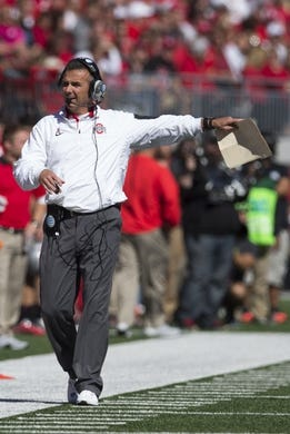 Oct 10, 2015; Columbus, OH, USA; Ohio State Buckeyes head coach Urban Meyer on the sidelines against the Maryland Terrapins at Ohio Stadium. Mandatory Credit: Greg Bartram-USA TODAY Sports