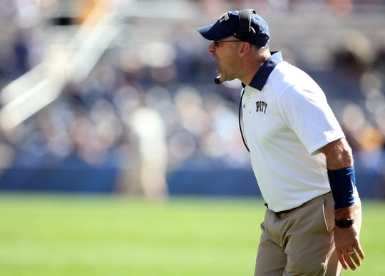 Oct 10, 2015; Pittsburgh, PA, USA; Pittsburgh Panthers head coach Pat Narduzzi reacts on the sidelines against the Virginia Cavaliers during the first quarter at Heinz Field. Mandatory Credit: Charles LeClaire-USA TODAY Sports