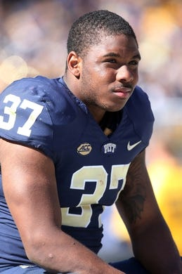 Oct 10, 2015; Pittsburgh, PA, USA; Pittsburgh Panthers running back Qadree Ollison (37) looks on from the sidelines against the Virginia Cavaliers during the third quarter at Heinz Field. PITT won 26-19. Mandatory Credit: Charles LeClaire-USA TODAY Sports