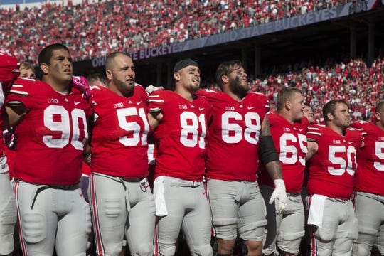 Oct 10, 2015; Columbus, OH, USA; The Ohio State Buckeyes sing Carmen Ohio after winning the game against the Maryland Terrapins at Ohio Stadium. Ohio State won the game 49-28. Mandatory Credit: Greg Bartram-USA TODAY Sports