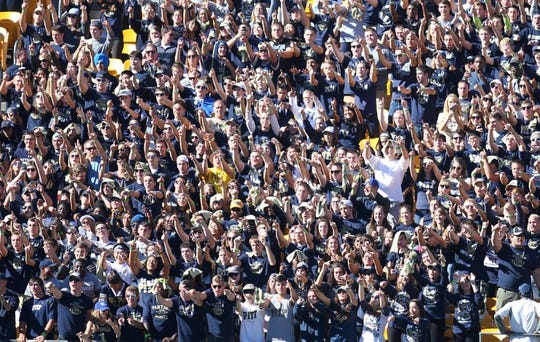 Oct 10, 2015; Pittsburgh, PA, USA; The Pittsburgh Panthers student section cheers against the Virginia Cavaliers during the fourth quarter at Heinz Field. PITT won 26-19. Mandatory Credit: Charles LeClaire-USA TODAY Sports