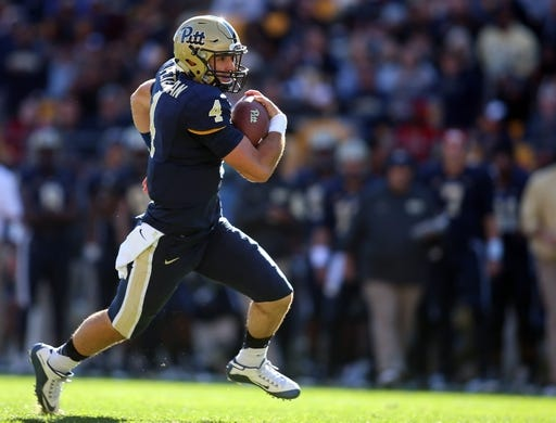Oct 10, 2015; Pittsburgh, PA, USA; Pittsburgh Panthers quarterback Nathan Peterman (4) rushes the ball during the fourth quarter at Heinz Field. PITT won 26-19. Mandatory Credit: Charles LeClaire-USA TODAY Sports