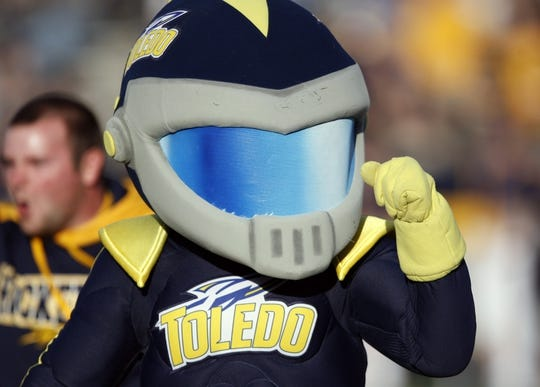 Oct 10, 2015; Toledo, OH, USA; Toledo Rockets mascot Rocky pumps his fist during the third quarter against the Kent State Golden Flashes at Glass Bowl. Rockets win 38-7. Mandatory Credit: Raj Mehta-USA TODAY Sports