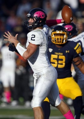 Oct 10, 2015; Toledo, OH, USA; Kent State Golden Flashes quarterback George Bollas (2) throws the ball during the third quarter against the Toledo Rockets at Glass Bowl. Rockets win 38-7. Mandatory Credit: Raj Mehta-USA TODAY Sports