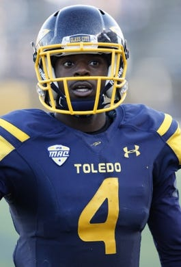 Oct 10, 2015; Toledo, OH, USA; Toledo Rockets wide receiver Corey Jones (4) looks on during the fourth quarter against the Kent State Golden Flashes at Glass Bowl. Rockets win 38-7. Mandatory Credit: Raj Mehta-USA TODAY Sports