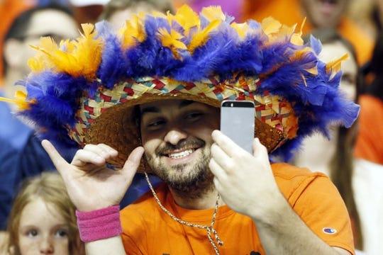 Oct 10, 2015; San Antonio, TX, USA; A UTSA Roadrunners fan during the first half against the Louisiana Tech Bulldogs at Alamodome. Mandatory Credit: Soobum Im-USA TODAY Sports