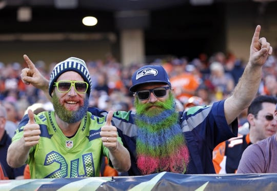 Oct 11, 2015; Cincinnati, OH, USA; Seattle Seahawks fans show support in the stands in the second half against the Cincinnati Bengals at Paul Brown Stadium. The Bengals won 27-24. Mandatory Credit: Aaron Doster-USA TODAY Sports