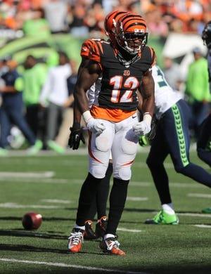 Oct 11, 2015; Cincinnati, OH, USA; Cincinnati Bengals wide receiver Mohamed Sanu (12) at Paul Brown Stadium. The Bengals won 27-24. Mandatory Credit: Aaron Doster-USA TODAY Sports