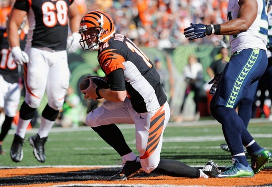 Oct 11, 2015; Cincinnati, OH, USA; Cincinnati Bengals quarterback Andy Dalton (14) scores a touchdown in the second half against the Seattle Seahawks at Paul Brown Stadium. The Bengals won 27-24. Mandatory Credit: Aaron Doster-USA TODAY Sports