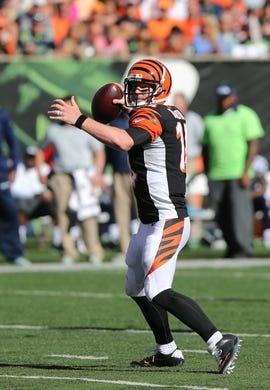 Oct 11, 2015; Cincinnati, OH, USA; Cincinnati Bengals quarterback Andy Dalton (14) against the Seattle Seahawks at Paul Brown Stadium. The Bengals won 27-24. Mandatory Credit: Aaron Doster-USA TODAY Sports