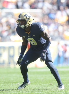 Oct 10, 2015; Pittsburgh, PA, USA; Pittsburgh Panthers defensive back Jordan Whitehead (9) at the line of scrimmage against the Virginia Cavaliers during the second quarter at Heinz Field. PITT won 26-19. Mandatory Credit: Charles LeClaire-USA TODAY Sports