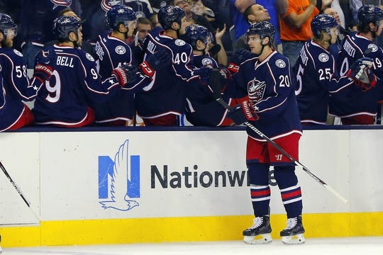 Oct 31, 2015; Columbus, OH, USA; Columbus Blue Jackets left wing Brandon Saad (20) celebrates a goal against the Winnipeg Jets during the first period at Nationwide Arena. Mandatory Credit: Russell LaBounty-USA TODAY Sports