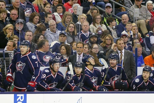 Oct 31, 2015; Columbus, OH, USA; Columbus Blue Jackets head coach John Tortorella looks on from the bench during the first period against the Winnipeg Jets at Nationwide Arena. Winnipeg defeated Columbus 3-2. Mandatory Credit: Russell LaBounty-USA TODAY Sports