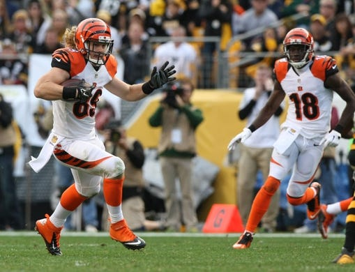 Nov 1, 2015; Pittsburgh, PA, USA; Cincinnati Bengals half back Ryan Hewitt (89) runs the ball against the Pittsburgh Steelers during the second half at Heinz Field. The Bengals won the game 16-10. Mandatory Credit: Jason Bridge-USA TODAY Sports