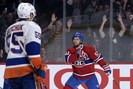 Nov 5, 2015; Montreal, Quebec, CAN; Montreal Canadiens forward David Desharnais (51) celebrates after scoring a goal against the New York Islanders during the third period at the Bell Centre. Mandatory Credit: Eric Bolte-USA TODAY Sports