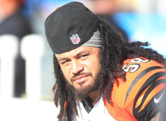 Nov 1, 2015; Pittsburgh, PA, USA; Cincinnati Bengals middle linebacker Rey Maualuga (58) looks on from the sidelines against the Pittsburgh Steelers during the second quarter at Heinz Field. The Bengals won 16-10. Mandatory Credit: Charles LeClaire-USA TODAY Sports