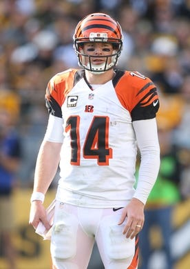 Nov 1, 2015; Pittsburgh, PA, USA; Cincinnati Bengals quarterback Andy Dalton (14) looks to the sidelines against the Pittsburgh Steelers during the second quarter at Heinz Field. The Bengals won 16-10. Mandatory Credit: Charles LeClaire-USA TODAY Sports