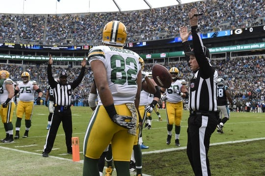 Nov 8, 2015; Charlotte, NC, USA; Green Bay Packers tight end Richard Rodgers (82) catches a touchdown in the first quarter at Bank of America Stadium. Mandatory Credit: Bob Donnan-USA TODAY Sports