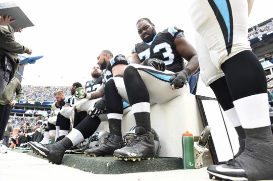 Nov 8, 2015; Charlotte, NC, USA; Carolina Panthers tackle Michael Oher (73) on the bench in the second quarter at Bank of America Stadium. Mandatory Credit: Bob Donnan-USA TODAY Sports