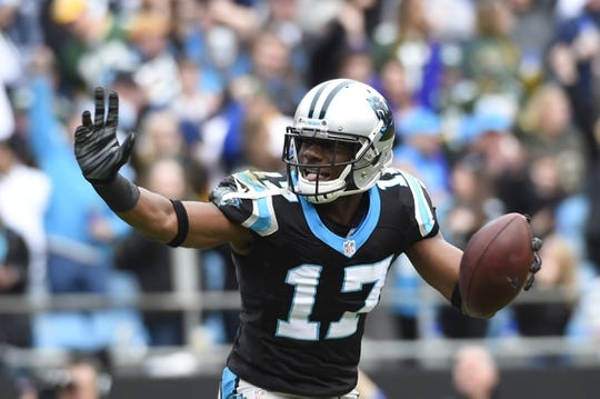 Nov 8, 2015; Charlotte, NC, USA; Carolina Panthers wide receiver Devin Funchess (17) reacts in the second quarter at Bank of America Stadium. Mandatory Credit: Bob Donnan-USA TODAY Sports