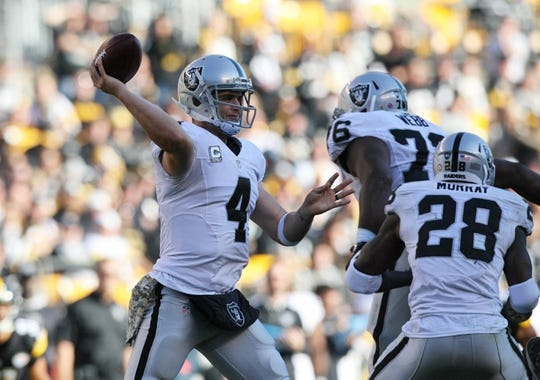 Nov 8, 2015; Pittsburgh, PA, USA; Oakland Raiders quarterback Derek Carr (4) throws a pass against the Pittsburgh Steelers during the first half at Heinz Field. Mandatory Credit: Jason Bridge-USA TODAY Sports