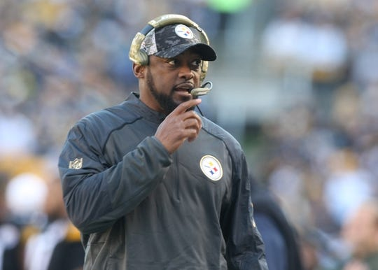 Nov 8, 2015; Pittsburgh, PA, USA; Pittsburgh Steelers head coach Mike Tomlin on the sidelines against the Oakland Raiders during the first half at Heinz Field. Mandatory Credit: Jason Bridge-USA TODAY Sports