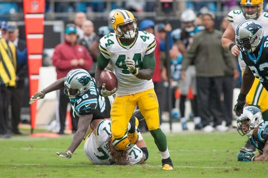 Nov 8, 2015; Charlotte, NC, USA; Green Bay Packers running back James Starks (44) runs the ball during the fourth quarter against the Carolina Panthers at Bank of America Stadium. The Panthers defeated the Packers 37-29. Mandatory Credit: Jeremy Brevard-USA TODAY Sports