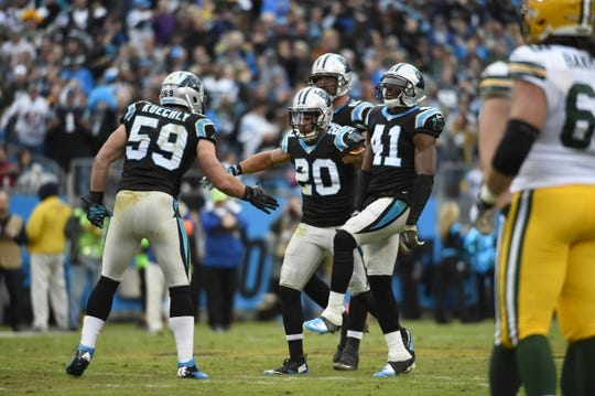 Nov 8, 2015; Charlotte, NC, USA; Carolina Panthers middle linebacker Luke Kuechly (59) and free safety Kurt Coleman (20) and defensive end Jared Allen (69) and strong safety Roman Harper (41) react in the third quarter at Bank of America Stadium. Mandatory Credit: Bob Donnan-USA TODAY Sports