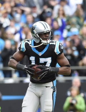Nov 8, 2015; Charlotte, NC, USA; Carolina Panthers wide receiver Devin Funchess (17) reacts after catching a long pass in the second quarter at Bank of America Stadium. Mandatory Credit: Bob Donnan-USA TODAY Sports