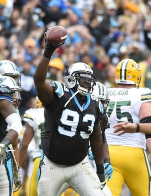Nov 8, 2015; Charlotte, NC, USA; Carolina Panthers defensive tackle Kyle Love (93) reacts after recovering a fumble in the second quarter at Bank of America Stadium. Mandatory Credit: Bob Donnan-USA TODAY Sports